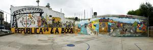 Mural Painted at Basketball Court, La Boca, Buenos Aires, Argentina