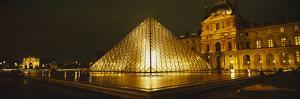 Museum Lit Up at Night, Musee Du Louvre, Paris, France