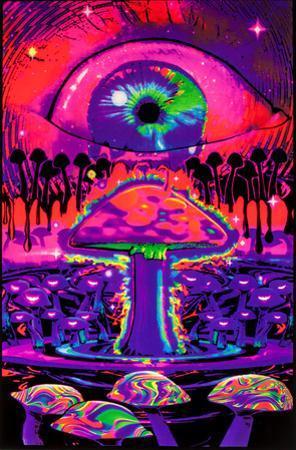 Mushroom Ripple Blacklight Poster