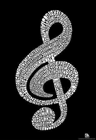 Music Note Composer Names Text Poster