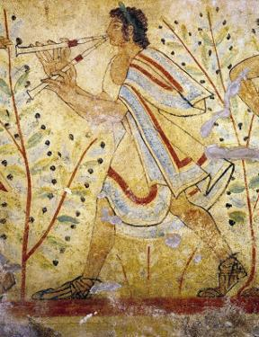 Musician Playing the Pipes, from the Tomb of the Leopard, circa 490 BC (Wall Painting)