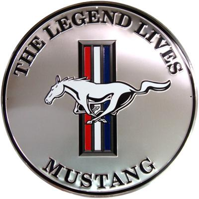 Mustang Silver Round Tin Sign