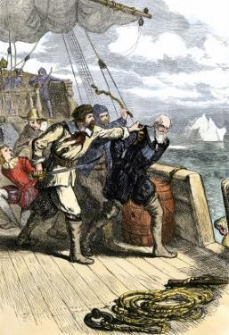 Mutineers Send Henry Hudson and His Son Overboard to Die Adrift in a Small Boat in the Arctic 1611