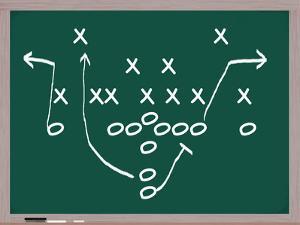 A Football Play on A Chalkboard. by mybaitshop