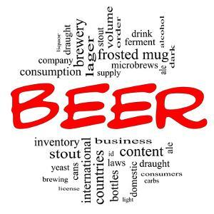 Beer Word Cloud Concept in Red and Black by mybaitshop