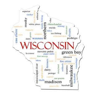 Wisconsin Map Word Cloud Concept by mybaitshop