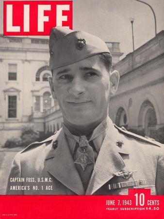American Marine Ace Pilot Captain Joe Foss Wearing his Medal of Honor, June 7, 1943