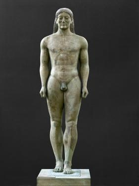 Statue of a Kouros, Ascribed to Myron, Marble (6th BCE) by Myron