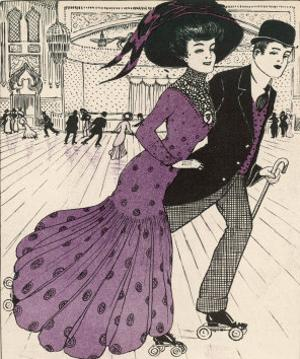 Smart Couple in a Roller- Skating Hall by N. Nielsen