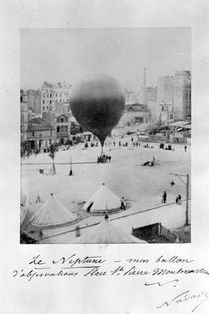 Le Neptune Hot Air Balloon Taking Off from Place St Pierre in Montmatre During the Siege of… by Nadar