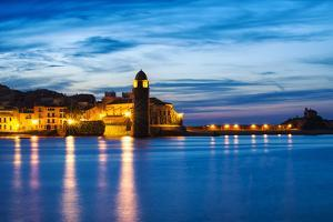 Collioure's Bay and a Lighthouse Converted to Notre-Dame-Des-Anges Church, Collioure, France by Nadia Isakova