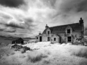 Infrared Image of a Derelict Farmhouse Near Arivruach, Isle of Lewis, Hebrides, Scotland, UK by Nadia Isakova