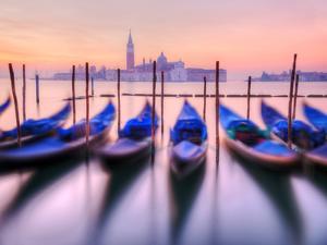 Moored Gondolas with San Giorgio Maggiore in the Background at Dawn, Venice, Veneto Region, Italy by Nadia Isakova