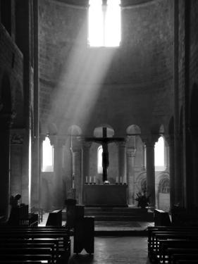 Prayer in Sant' Antimo Abbey Near Montalcino, Valle De Orcia, Tuscany, Italy by Nadia Isakova