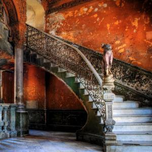 Staircase in the Old Building/ Entrance to La Guarida Restaurant, Havana, Cuba, Caribbean by Nadia Isakova