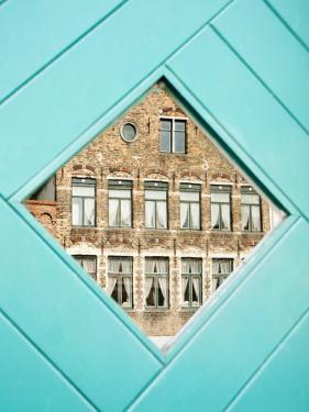Traditional Building Reflected in the Window, Bruges, Belgium by Nadia Isakova