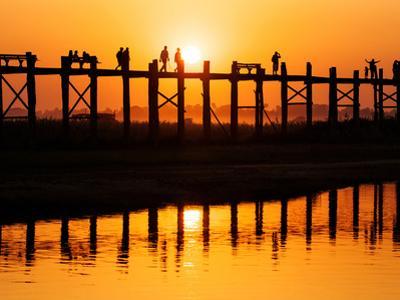 U Bein Bridge (Longest Teak Bridge in the World) at Sunset , Amarapura, Mandalay, Burma (Myanmar) by Nadia Isakova