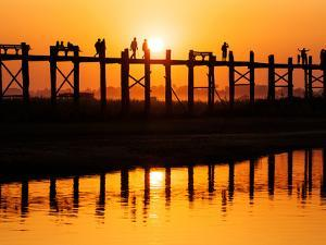 U Bein Bridge (Longest Teak Bridge in the World) at Sunset , Amarapura, Mandalay, Burma (Myanmar) by Nadia Isakova