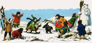 Children Playing in the Snow by Nadir Quinto