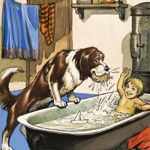Nana Baths Michael, Illustration from 'Peter Pan' by J.M. Barrie by Nadir Quinto