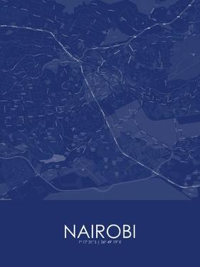 Nairobi, Kenya Blue Map