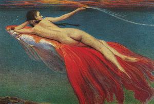 Naked Woman Riding Large Gold Fish