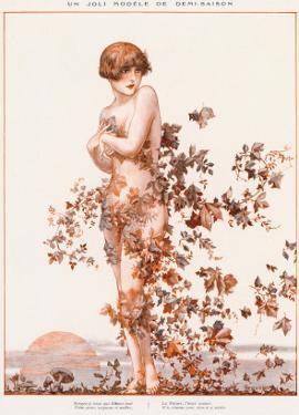 Naked Young Woman with Autumn Leaves Swirling around Her
