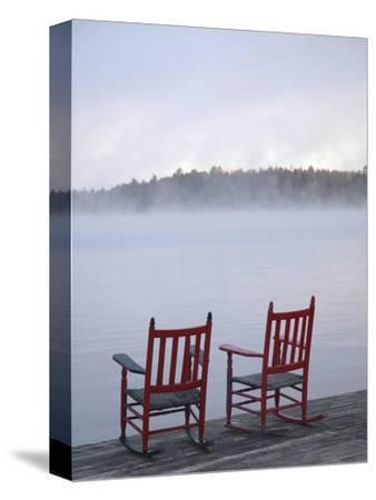 Two Red Rockers on Dock at Sunrise, Lake Mooselookmegontic, Maine