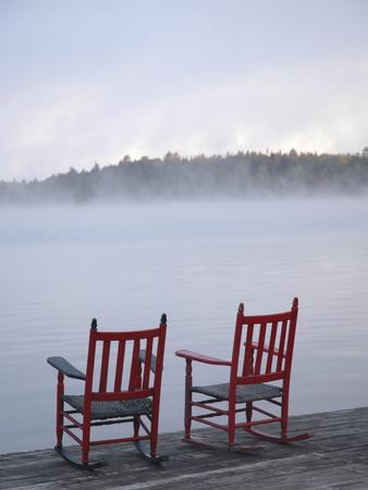 Two Red Rockers on Dock at Sunrise, Lake Mooselookmegontic, Maine