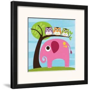 Elephant with Three Owls by Nancy Lee