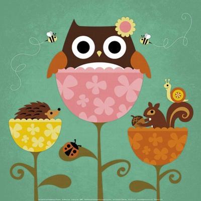 Owl, Squirrel and Hedgehog in Flowers by Nancy Lee