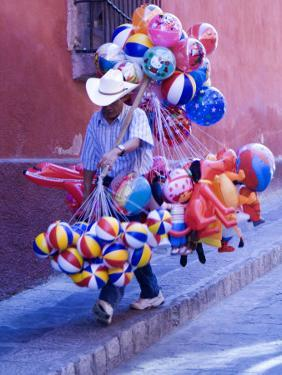 Balloon Vendor Walking the Streets, San Miguel De Allende, Mexico by Nancy Rotenberg