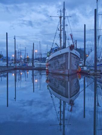 Boats in Harbor at Twilight, Southeast Alaska, USA by Nancy Rotenberg
