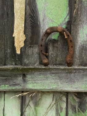 Rusty Horseshoe on Old Fence, Montana, USA by Nancy Rotenberg