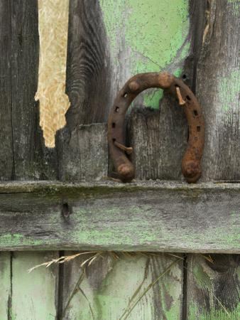 Rusty Horseshoe on Old Fence, Montana, USA by Nancy Rotenberg