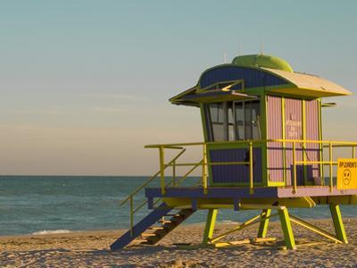 12th Street Lifeguard Station at Sunset, South Beach, Miami, Florida, USA by Nancy & Steve Ross
