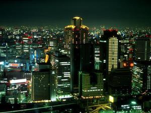 Aerial View of Downtown Skyline, Osaka, Japan by Nancy & Steve Ross