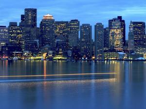Boat Leaves Light Trail on Boston Harbor at Sunset, Boston, Massachusetts, USA by Nancy & Steve Ross