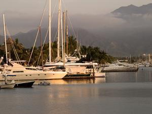 Boats Docked in Marina Vallarta Against Fog-Shrouded Mountains, Puerto Vallarta, Mexico by Nancy & Steve Ross