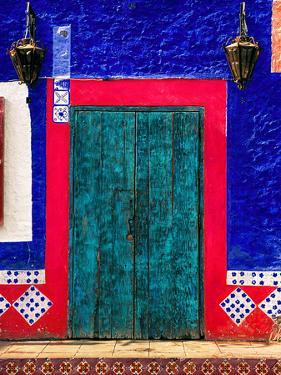 Detail of Colorful Wooden Door and Step, Cabo San Lucas, Mexico by Nancy & Steve Ross