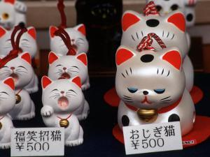 Display of Lucky Cats, Japanese Cultural Icon for Good Fortune, Akasaka, Tokyo, Japan by Nancy & Steve Ross