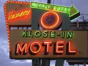 Klose-In Motel Sign Lights as Night Falls, Seattle, Washington, USA by Nancy & Steve Ross