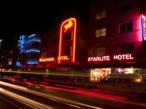 Nighttime Traffic on Ocean Drive, Art Deco Hotels, South Beach, Miami, Florida, USA by Nancy & Steve Ross