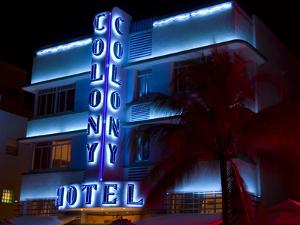 Nighttime View of Art Deco Colony Hotel, South Beach, Miami, Florida, USA by Nancy & Steve Ross