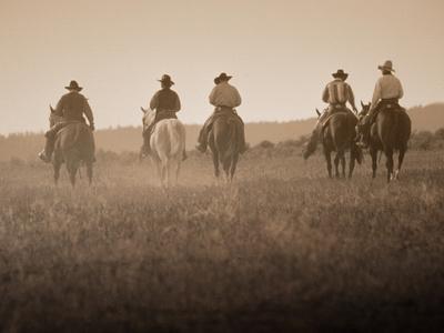 Sepia Effect of Cowboys Riding, Seneca, Oregon, USA