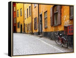 Street Scene in Gamla Stan Section with Bicycle and Mailbox, Stockholm, Sweden by Nancy & Steve Ross