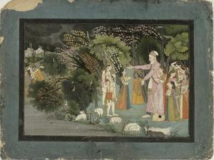 Nanda Asking Radha to Escort Krishna Home, from the Gita Govinda, Garhwal, c.1790