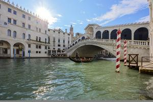 A gondolier rowing under Rialto Bridge in Venice, UNESCO World Heritage Site, Veneto, Italy, Europe by Nando Machado