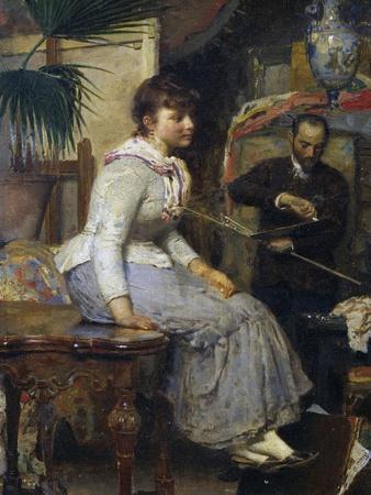 Model, by Napoleone Nani (1841-1899), Oil on Panel, 37X26 Cm, Italy, 19th Century