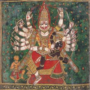 Narasimha Killing Hiranyakashipu, as Prahlada Watches